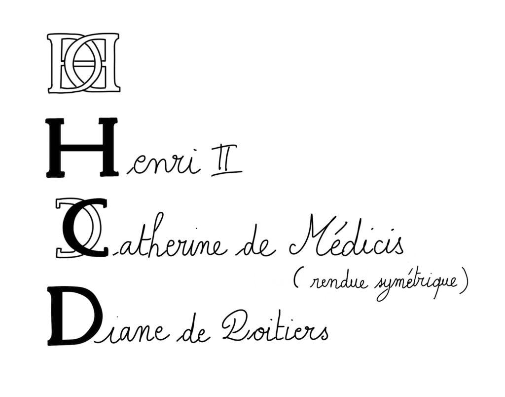 Monogramme d'Henri II et Catherine de Médicis décomposé pour faire apparaître chaque initiale