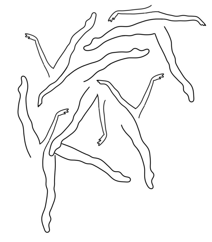Jambes et bras de danseuses en motif abstrait