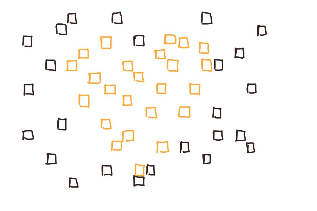 Carrés-pixels jaunes et noirs dessinant peut-être ou peut-être pas un coeur