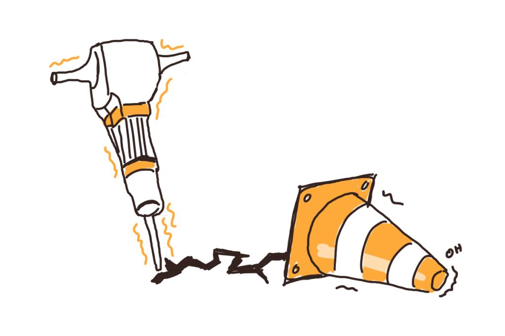 Dessin d'un marteau-piqueur dessinant une faille qui se propage dans un plot de chantier renversé