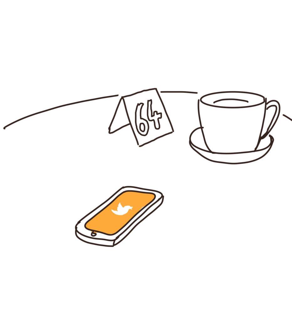 Dessin d'un téléphone avec écran Twitter sur un table avec une tasse