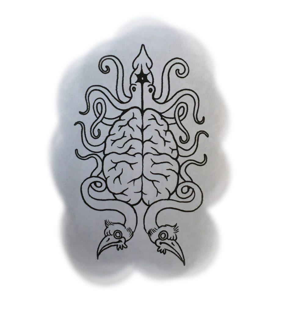 Sorte de blason avec un cerveau encadré d'un calamar et de têtes d'oiseaux