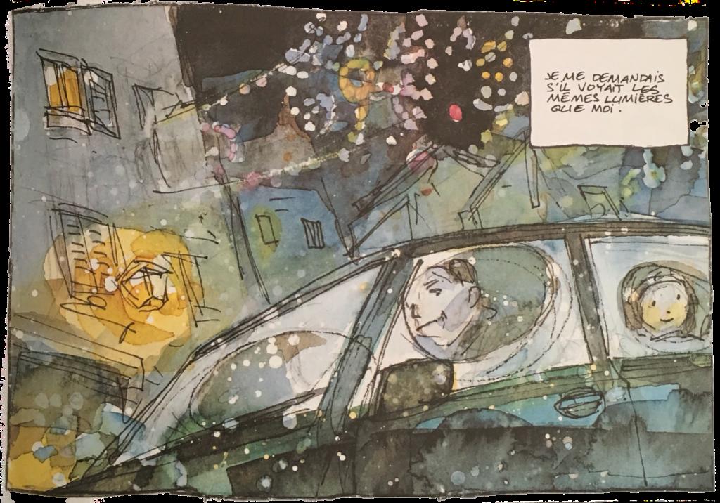 """Petite fille à l'arrière de la voiture conduite par son père dans les rues décorées pour Noël. """"Je me demandais s'il voyait les mêmes lumières que moi."""""""