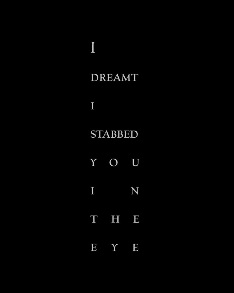 "Titre de chapitre : ""I dreamed I stabbed you in the eye"""