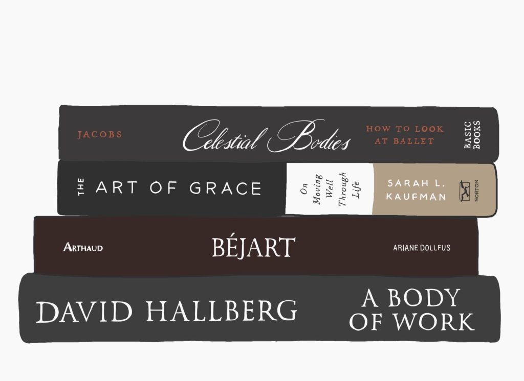 Piles de 4 livres : Celestial Bodies, de Jacbs ; The Art of Grace, de Sarah L. Kaufman ; Béjart, d'Ariana Dollfus ; A Body of Work, de Daviv Hallberg