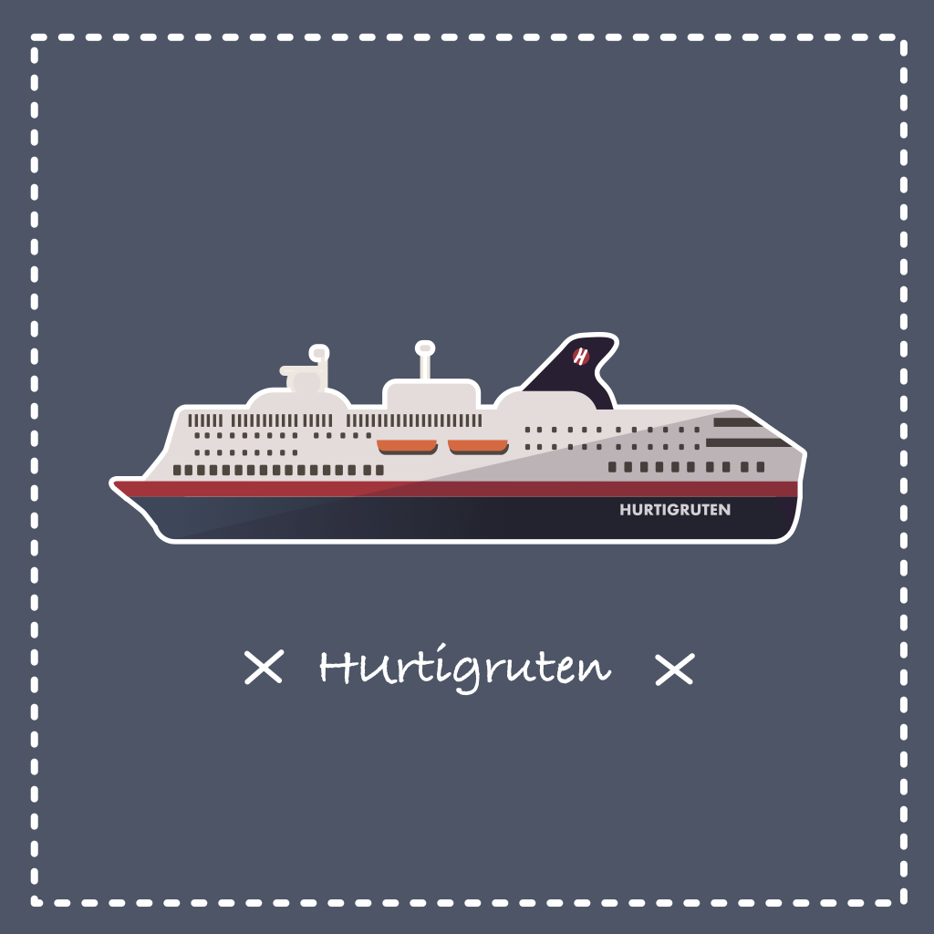 Illustration vectorielle d'un paquebot Hurtigruten