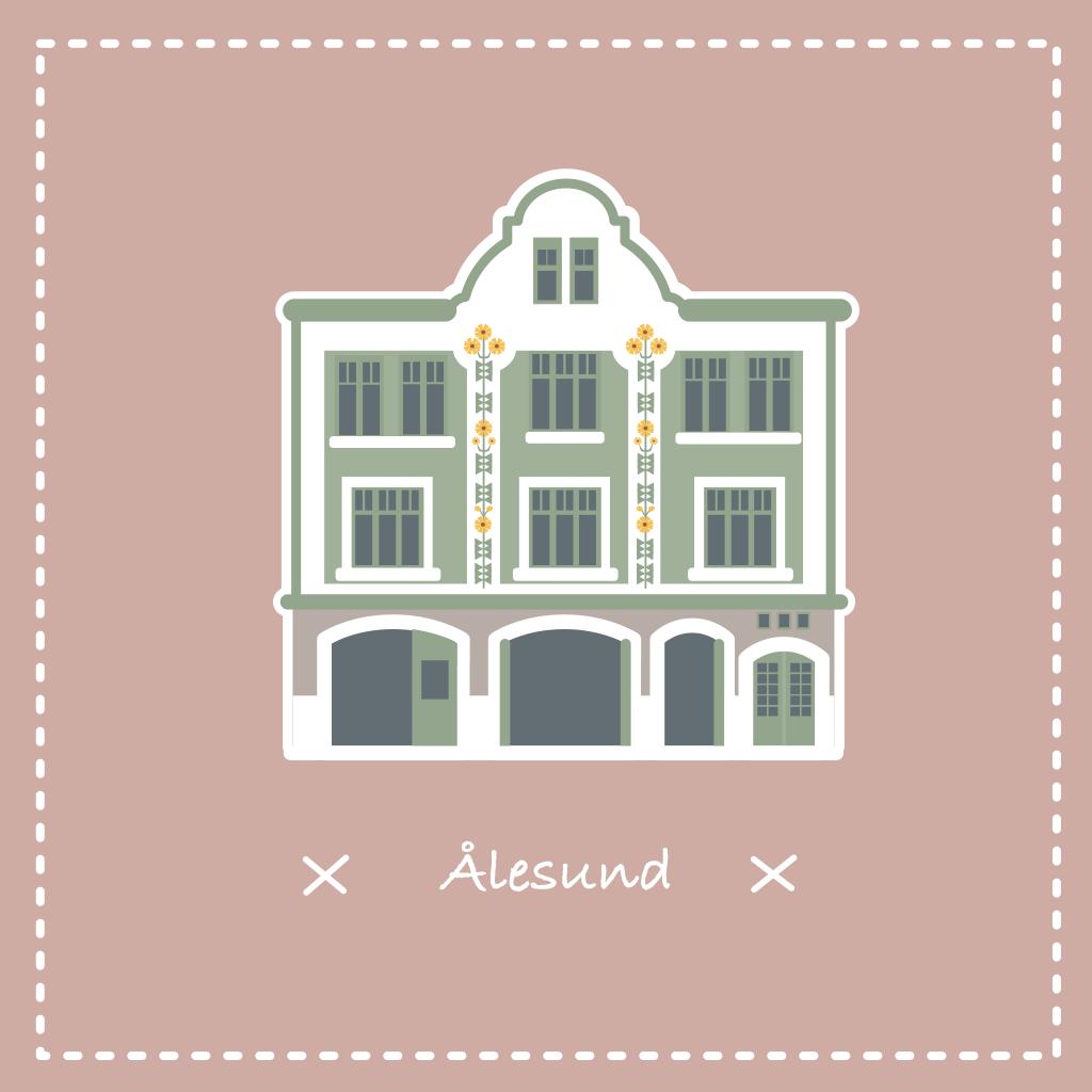 Illustration vectorielle d'une façade Art Nouveau d'Alesund