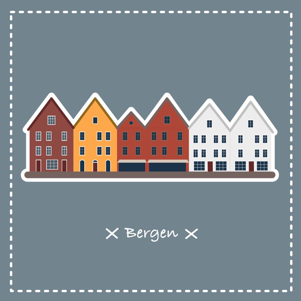 Illustration vectorielle des maisons aux toits colorés de Bergen