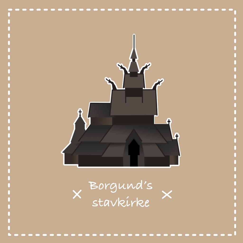 Illustration vectorielle de l'église en bois debout de Borgund