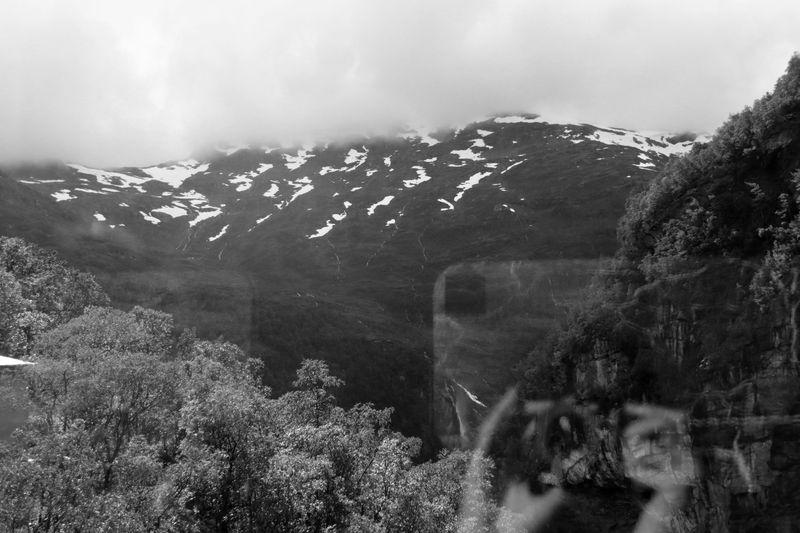 De haut en bas : la brume, des montagnes avec des neve, des frondaisons.  Dans le coin en bas à droite : je me reflète dans la vitre en train de prendre la photo, encoche-encart inséré dans le paysage
