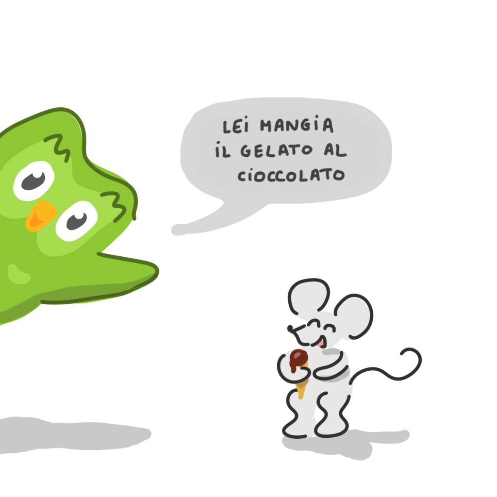 """Le hibou surgit comme dans l'appli, avec dans une bulle """"Lei mangia il gelato al cioccolato, à côte d'une souris rieuse avec sa glace"""