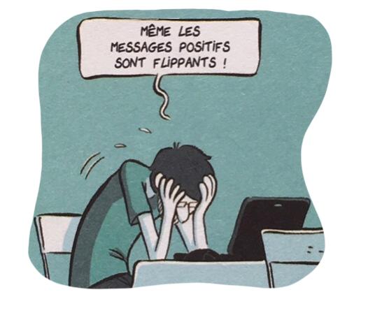 """Un homme se prend la tête dans les mains devant son ordinateur : """"Même les messages positifs sont flippants !"""""""