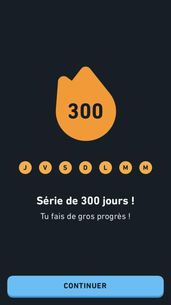 Capture de l'appli : série de 300 jours d'affilée