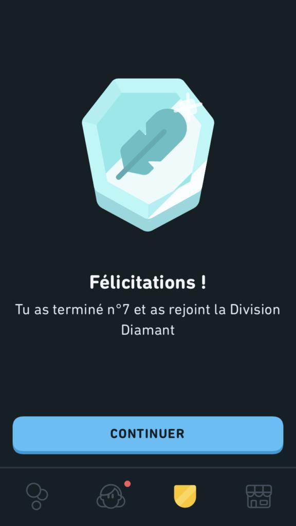 Capture de Duolingo : passage en division diamant