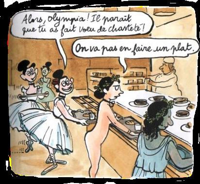 Olympia, nue, discute au self avec les danseuses de Degas