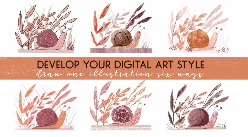 Develop you digital art style: draw one illustration in six ways